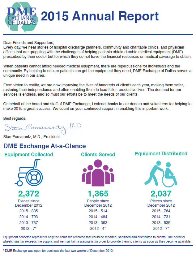 DME Exchange of Dallas: 2015 Annual Report